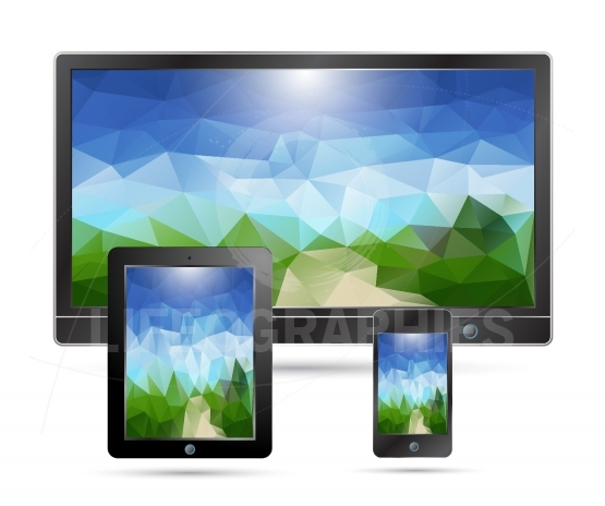Realistic MOBILE,TABLET,PHONE with geometric  landscape presenta
