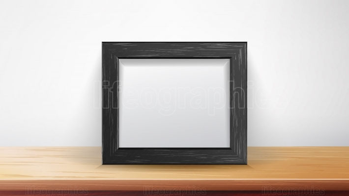 Realistic Rectangular Black Frame Vector  Good For Your Presentations, Exhibition  Interior Background Illustration