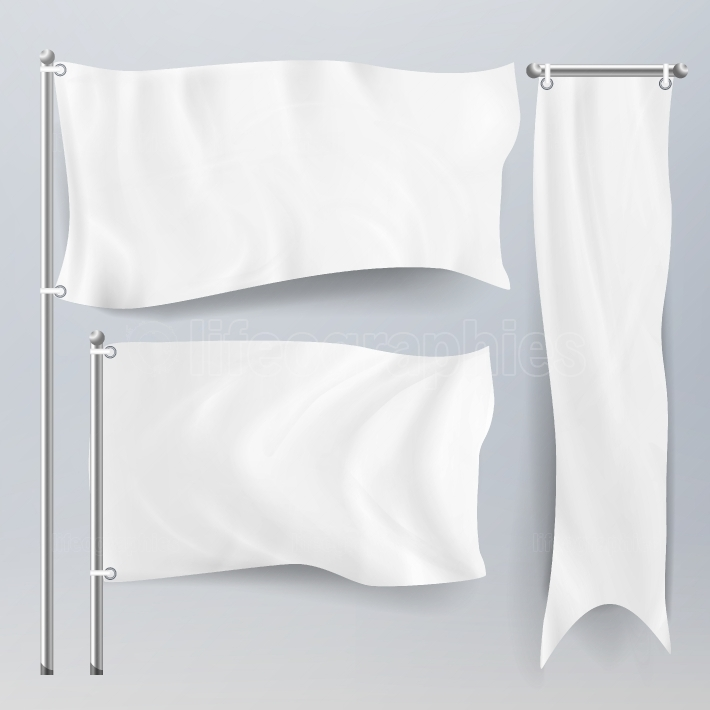 Realistic White Advertising Textile Flags And Banners