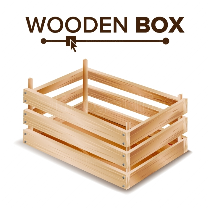 Realistic Wooden Box Vector  Box For Transportation And Storage Products