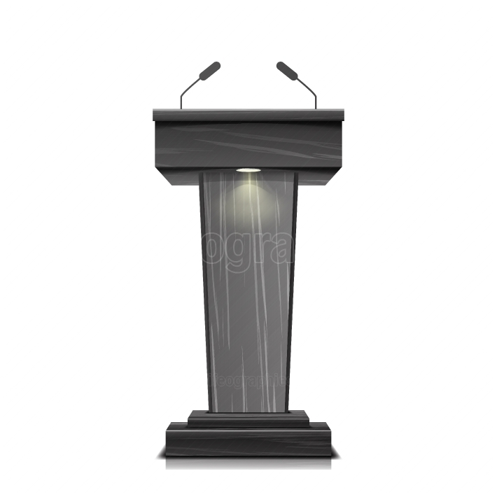 Realistic Wooden Tribune Isolated Vector  With Two Microphones  Dark Wooden Podium Stand Sign Rostrum  Illustration For The Performance Presentation Speech