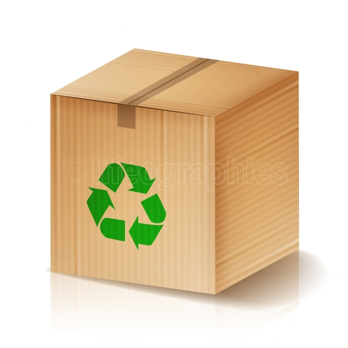 Recycle Box Vector  Brown Cardboard Box With Recycling Symbol  Isolated Illustration