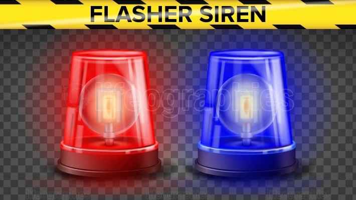 Red And Blue Flasher Siren Vector  3D Realistic