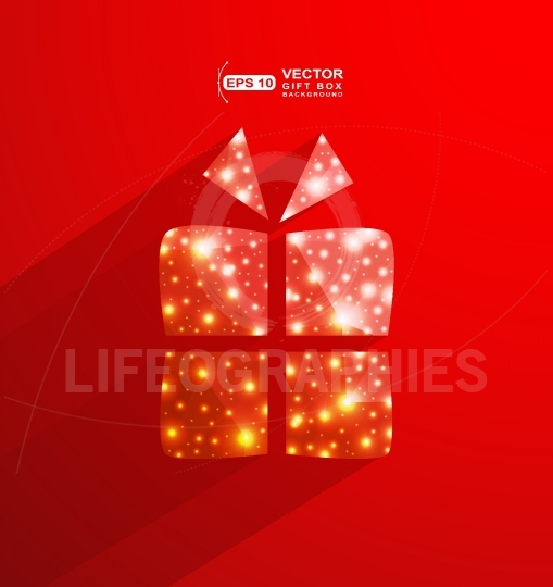 Red gift box made of  polygonal and lights effect