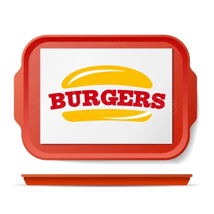 Red Plastic Tray Salver Vector  Classic Rectangular Red Plastic Tray  Good For Advertising, Branding Design  Top View  Restaurant, Fast Food Close Up Tray Isolated Illustration
