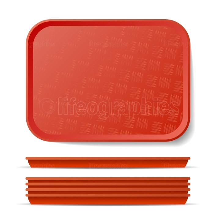 Red Plastic Tray Salver Vector  Classic Rectangular Red Plastic Tray, Plate With Handles  Top View  Restaurant, Fast Food, Kitchen Close Up Tray Isolated Illustration