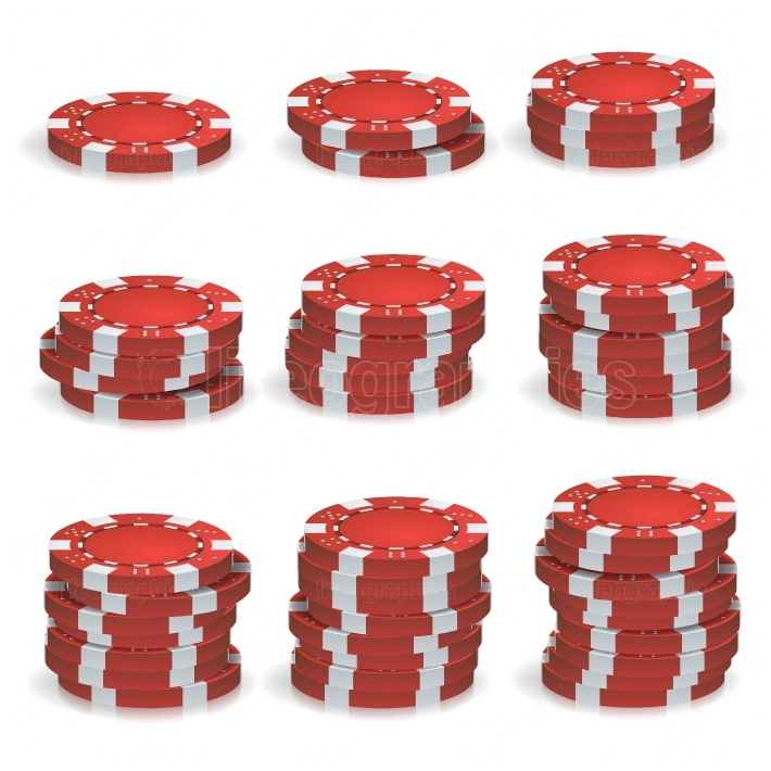 Red Poker Chips Stacks Vector  3D Realistic Set  Plastic Poker Gambling Chips Sign Isolated On White Background  Casino Jackpot, Success Illustration