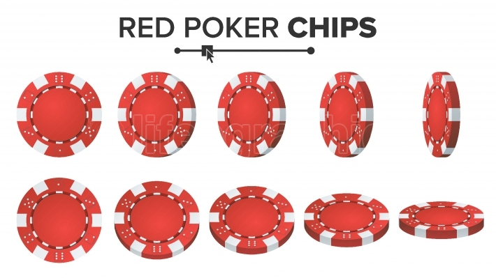 Red Poker Chips Vector  3D Realistic Set  Plastic Poker Chips Sign Isolated On White Background  Flip Different Angles  Jackpot, Success Illustration