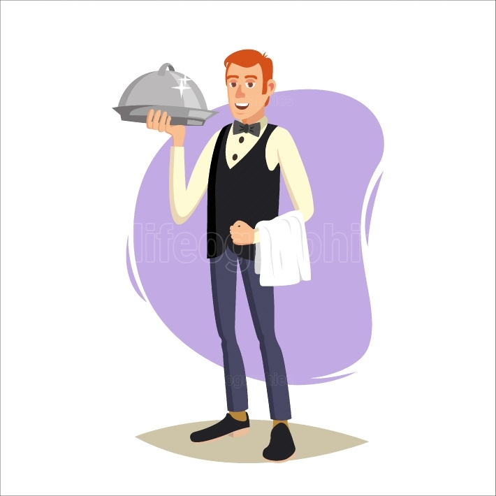 Restaurant Waiter Vector  Classic Waiter Takes The Order  Isolated Flat Cartoon Character Illustration