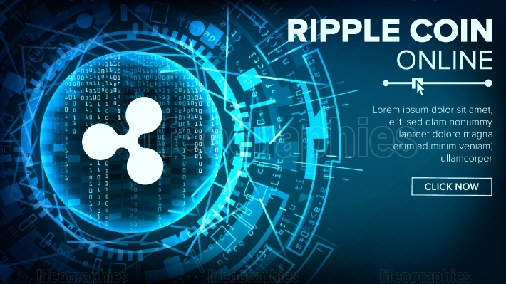 Ripple Abstract Technology Background Vector  Binary Code  Fintech Blockchain  Cryptography  Cryptocurrency Mining Concept Illustration