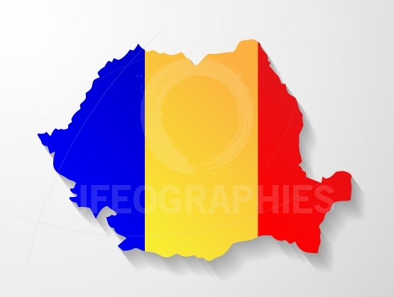 Romania flag map with shadow effect presentation