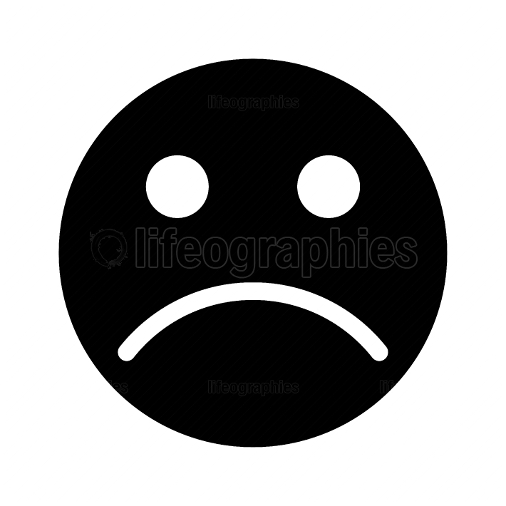 Sad emoticon black color icon