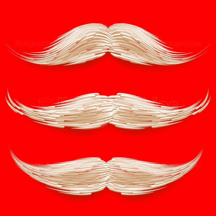 Santa s Mustache Vector  Christmas Realistic White Mustache  Different Types  Isolated Illustration