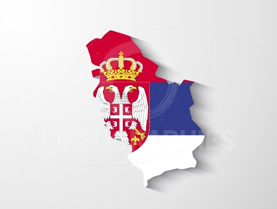 Serbia map with shadow effect presentation
