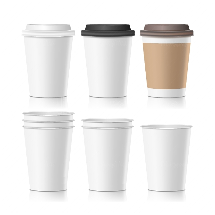 Set Coffee Paper Cups Vector  Empty Clean Paper Collection 3d Coffee Cup Mockup  Isolated Illustration