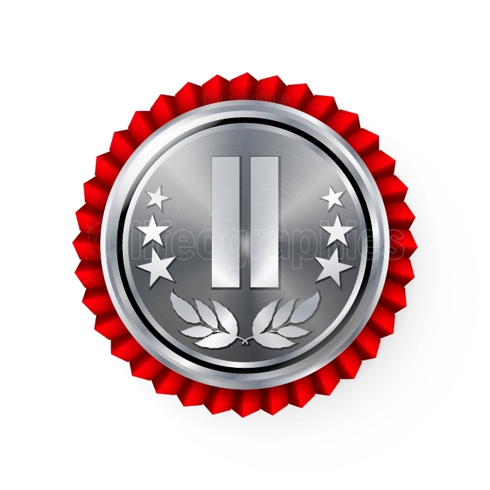 Silver 2st Place Rosette, Badge, Medal Vector  Realistic Achievement With Best Second Placement  Round Championship Label With Red Rosette  Ceremony Winner Honor Prize  Sport Game Challenge Award
