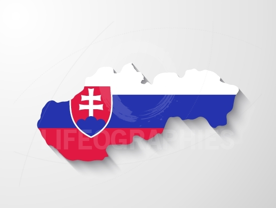 Slovakia map with shadow effect presentation