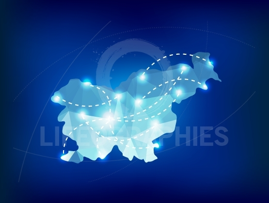 Slovenia country map polygonal with spot lights places