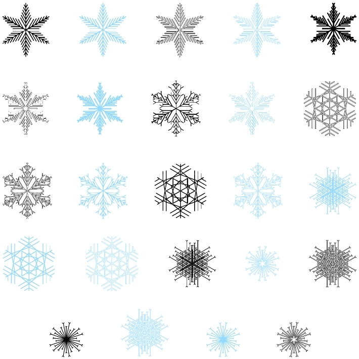 Snowflake set  black and blue icon