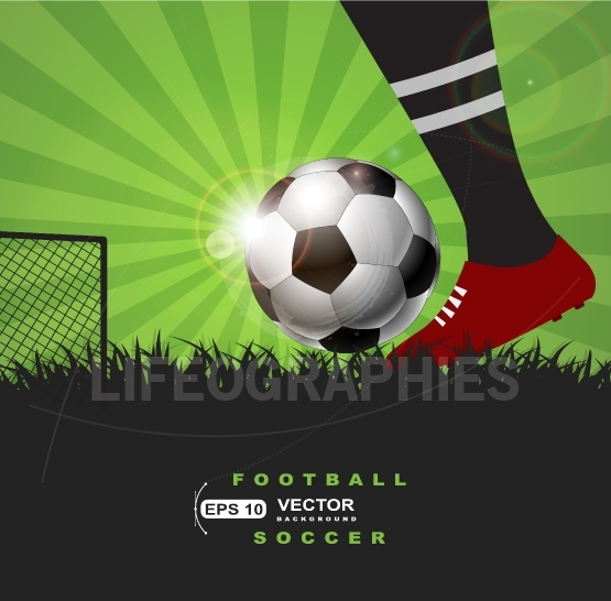 Soccer or football player with ball on grass  background