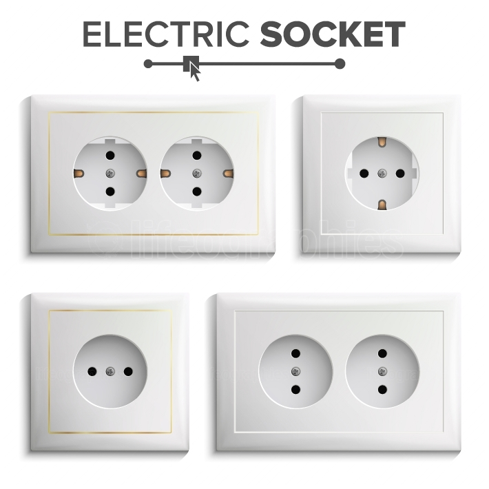 Socket Isolated Set Vector  White Double Grounded Power Switch  Plastic Panel  Electrical Outlet  Realistic Illustration