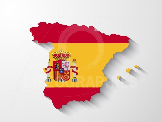Spain map with shadow effect