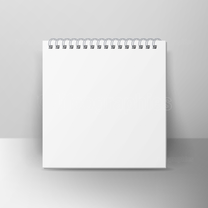 Spiral Empty Notepad Blank Mockup  Template For Advertising Branding, Corporate Identity  3D Realistic Notebook Mockup  Blank Notebook With Clean Cover
