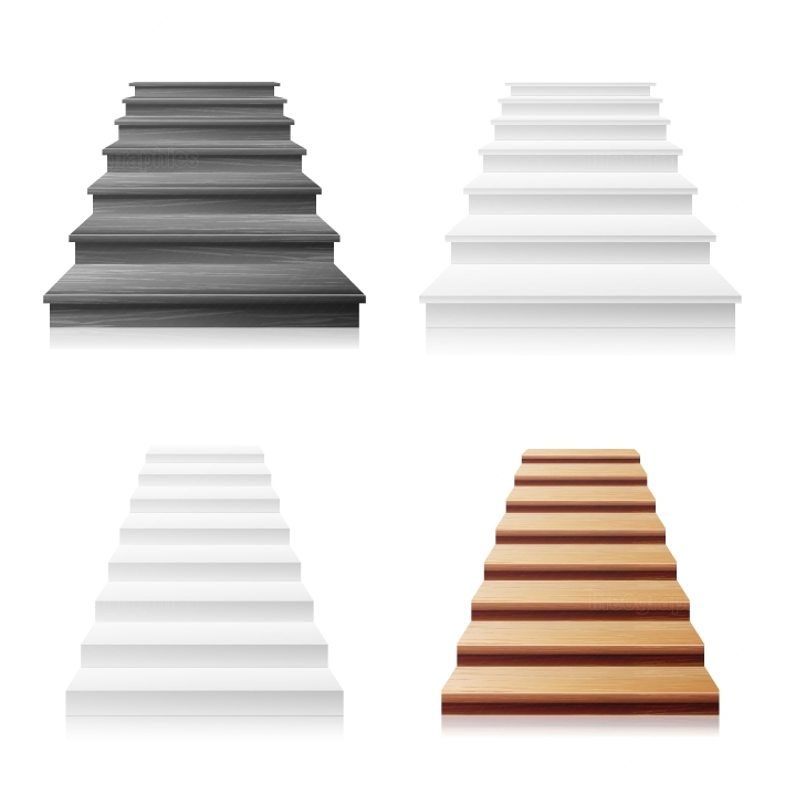 Staircase Vector Set  White, Wooden Dark  3D Realistic Illustration