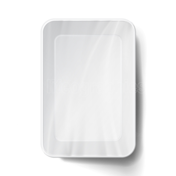 Styrofoam Food Tray Vector  White Empty Blank  Realistic Illustration