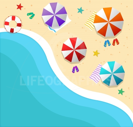 Summer background with beach and sea