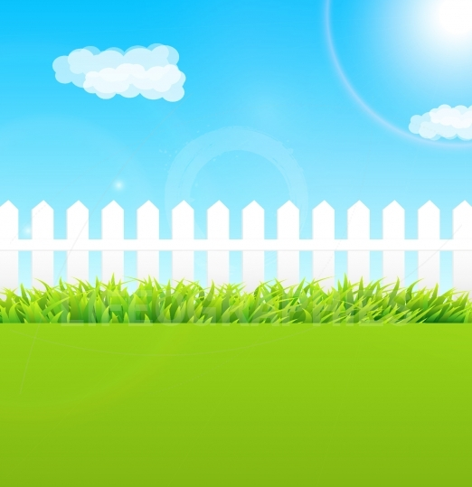 Summer garden scene with wooden fence and blue sky - Useful as b