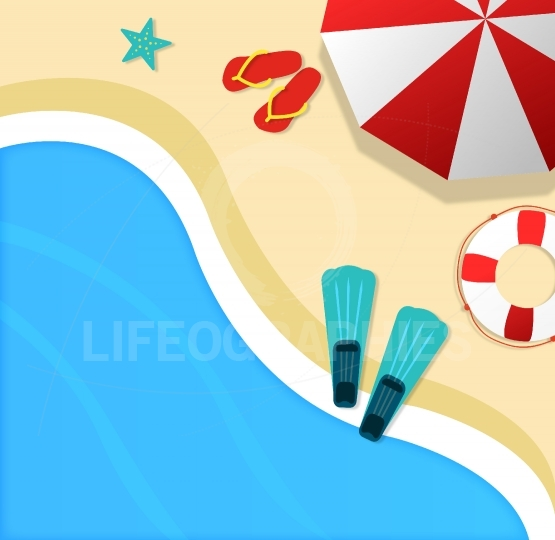 Summertime background with top view of beach and sea