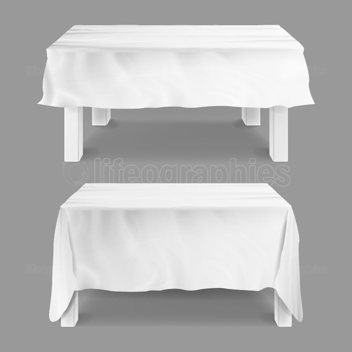 Table With Tablecloth Set Vector  Empty Rectangular Tables With White Tablecloth  Isolated On Gray Illustration