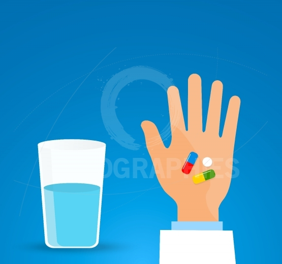 Taking the pill medication.Person holds in hands capsule next to