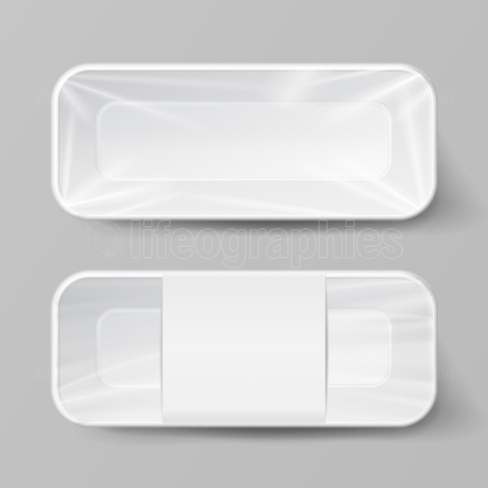 Template Blank White Plastic Food Container Set  Vector Mock Up Template Ready For Your Design