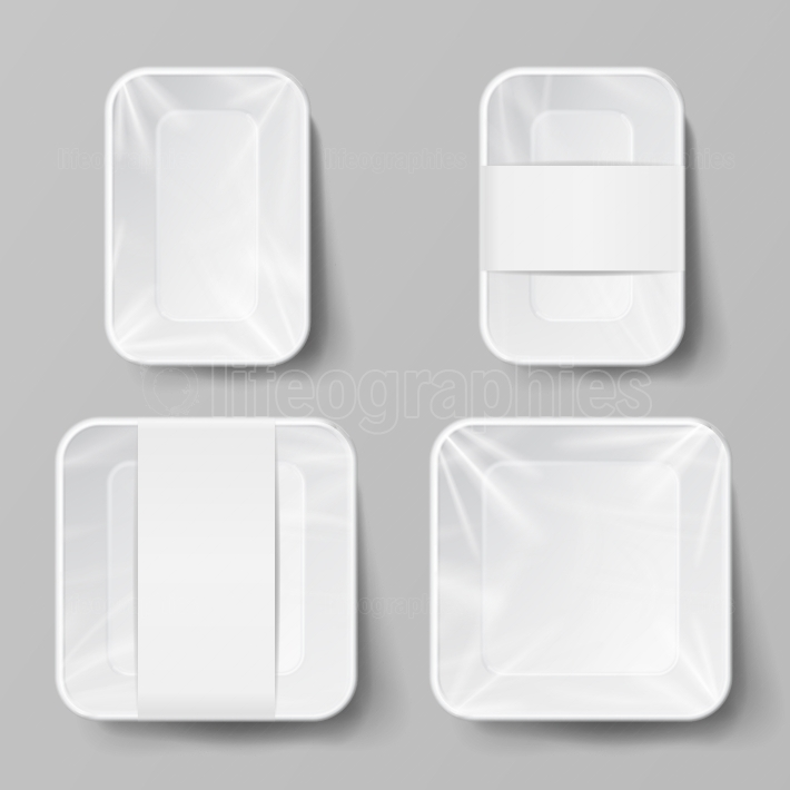 Template Blank White Plastic Food Container Set