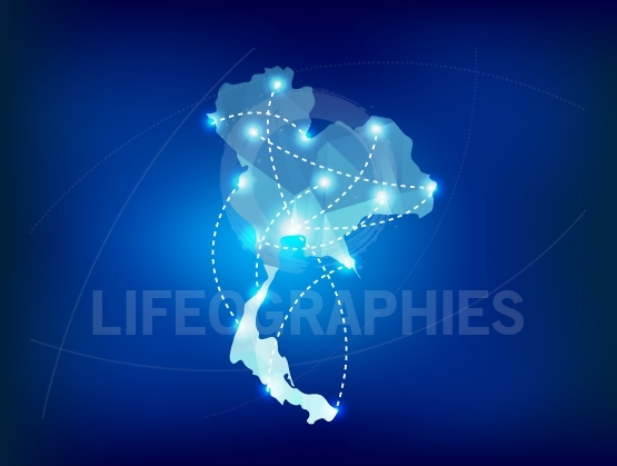 Thailand country map polygonal with spot lights places