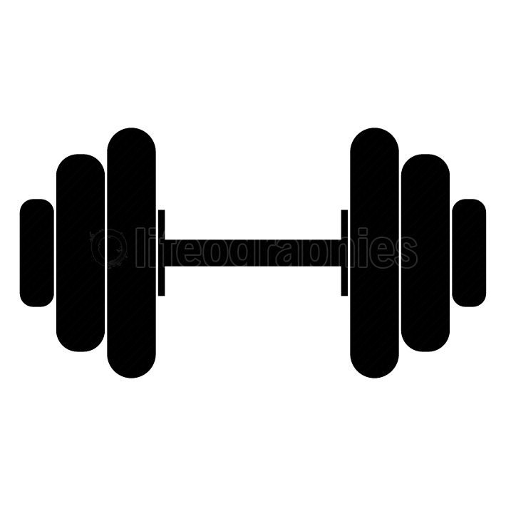 The dumbell black color icon