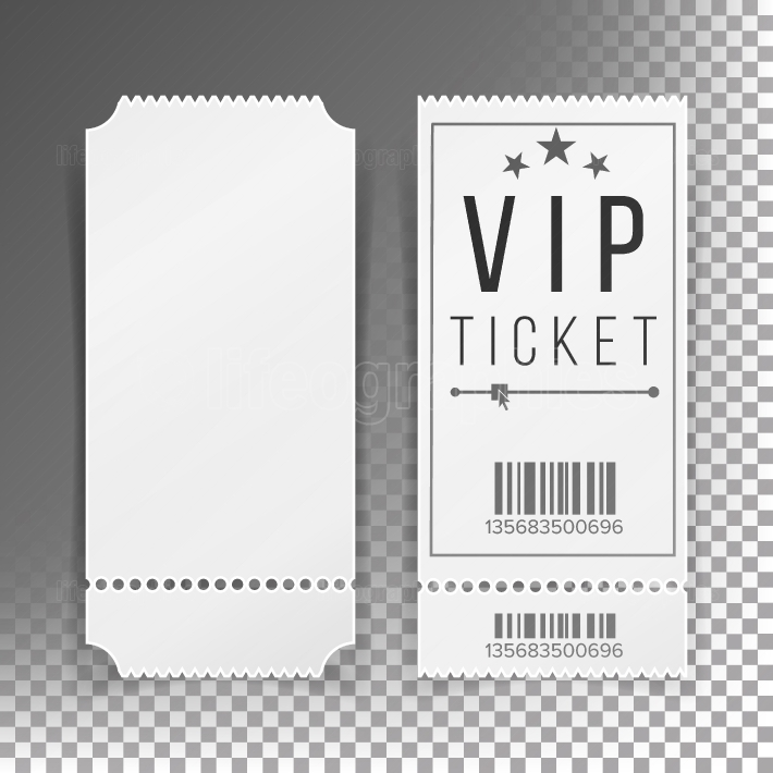 Ticket Template Set Vector  Blank Theater, Cinema, Train, Football Tickets Coupons  Isolated On Transparent Background