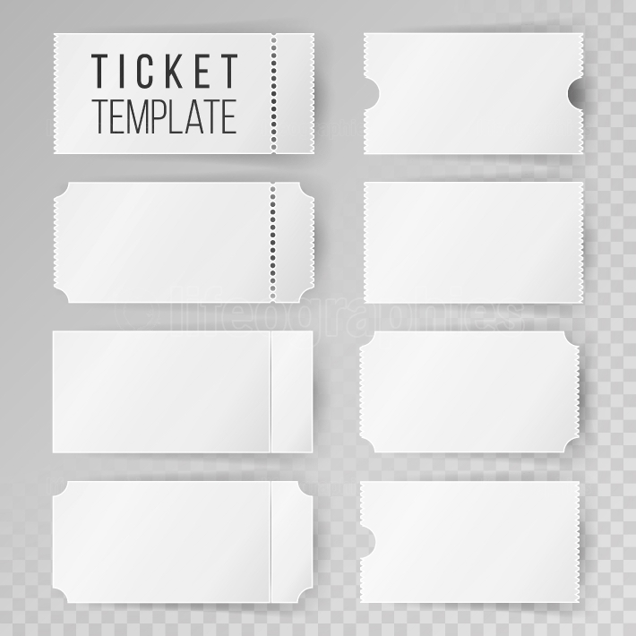 Ticket Template Set Vector  Modern Mock Up Wedding, Cinema, Birthday Or Circus Tickets Template  Transparent Background