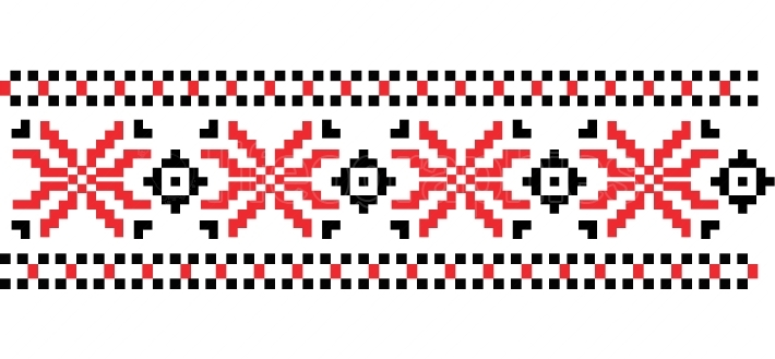 Traditional Romanian folk art knitted embroidery pattern  Vector
