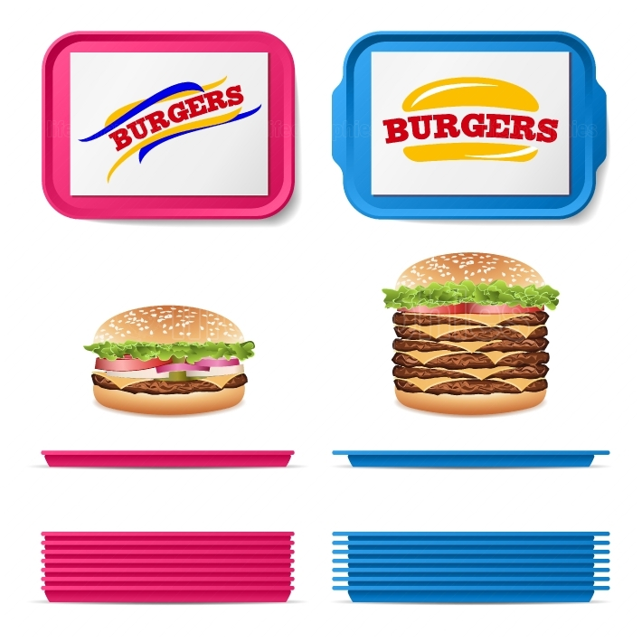 Tray Salver Set Vector  Empty Plastic Rectangular Tray Salvers With Fast Food Realistic Burger  Top View  Advertising, Branding Concept  Tray Isolated On White