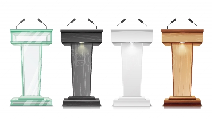 Tribune Set Vector  Podium Rostrum Stand With Microphones  Business Presentation Or Conference, Debate Speech Isolated Illustration