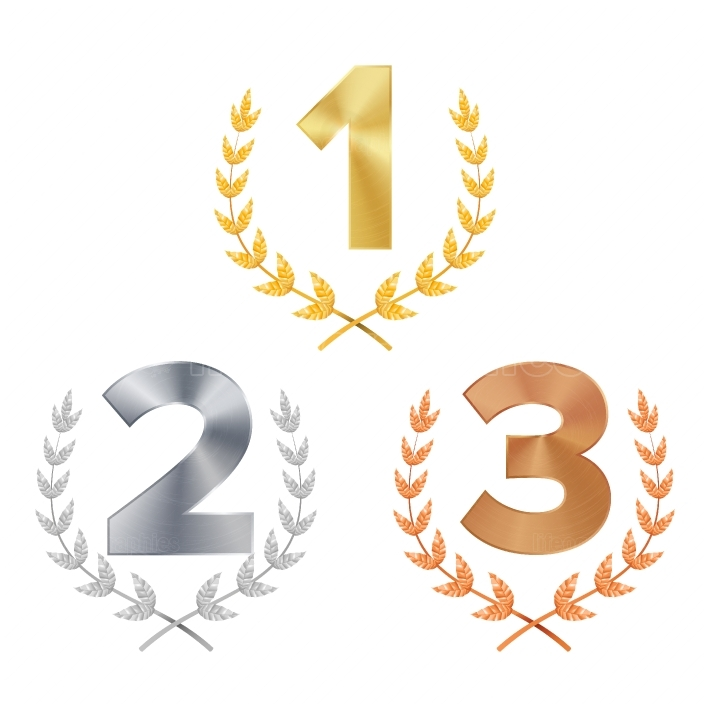 Trophy Award Set Vector  Award  Figures 1, 2, 3 One, Two, Three In A Realistic Gold Silver Bronze Laurel Wreath  Winner Trophy Award  Isolated Illustration