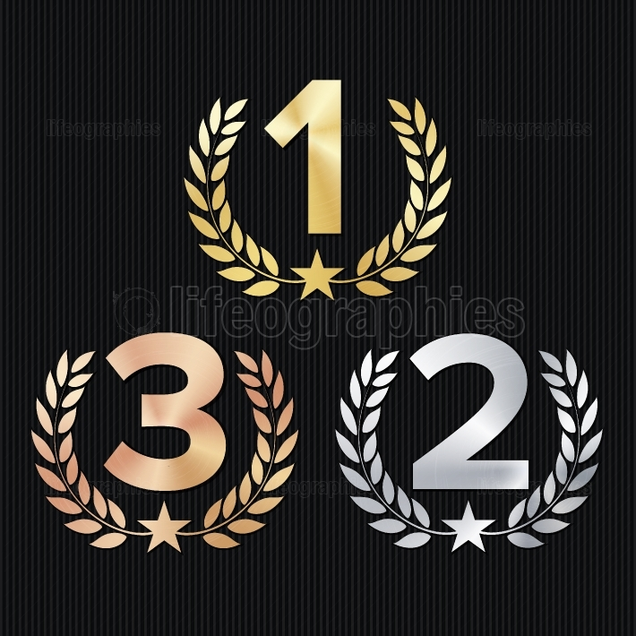 Trophy Award Set Vector  Figures 1, 2, 3 One, Two, Three In A Realistic Gold Silver Bronze Laurel Wreath And Red Ribbon  Competition Game Concept  Isolated On Black  Illustration