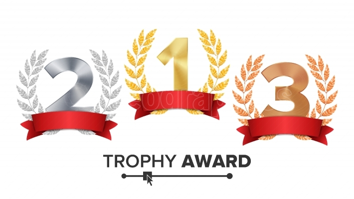 Trophy Award Set Vector  Figures 1, 2, 3 One, Two, Three In A Realistic Gold Silver Bronze Laurel Wreath And Red Ribbon  Winner Honor Prize  Isolated Illustration