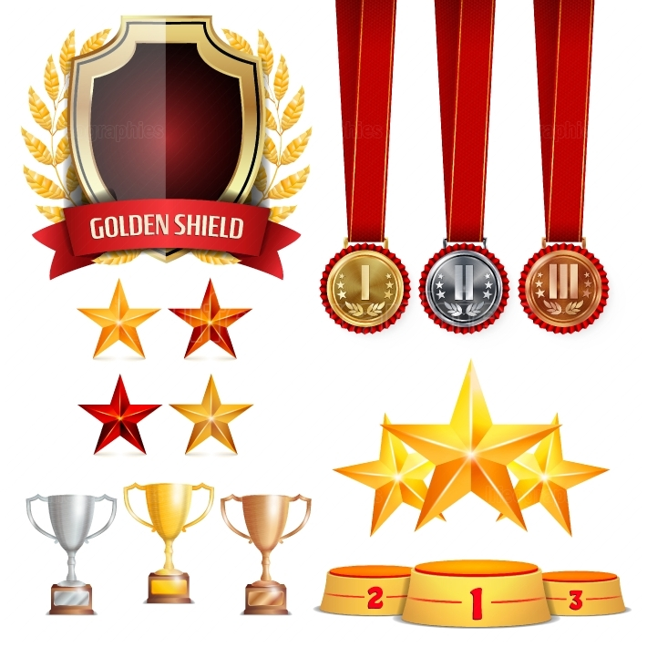 Trophy Awards Cups, Golden Laurel Wreath With Red Ribbon  Realistic Golden, Silver, Bronze Achievement Medals  Sports Placement Podium  Isolated Vector Illustration