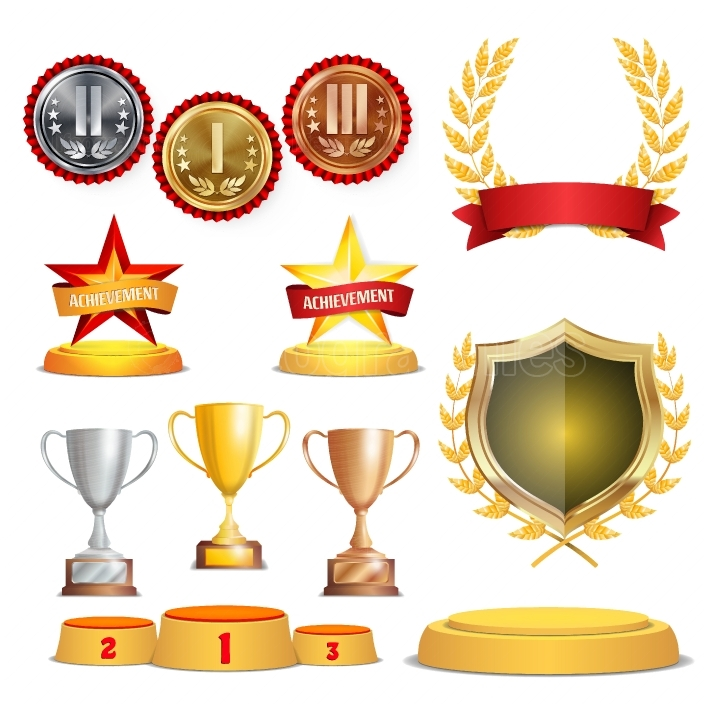 Trophy Awards Cups, Golden Laurel Wreath With Red Ribbon And Gold Shield  Realistic Golden, Silver, Bronze Achievement Medals  Sports Placement Podium  Isolated Vector Illustration