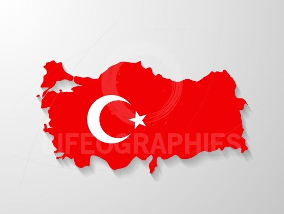 Turkey flag map with shadow effect
