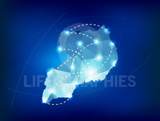 Uganda country map polygonal with spot lights places